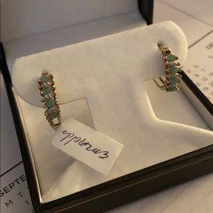 Emerald & Diamond Hoop Hugger Earrings